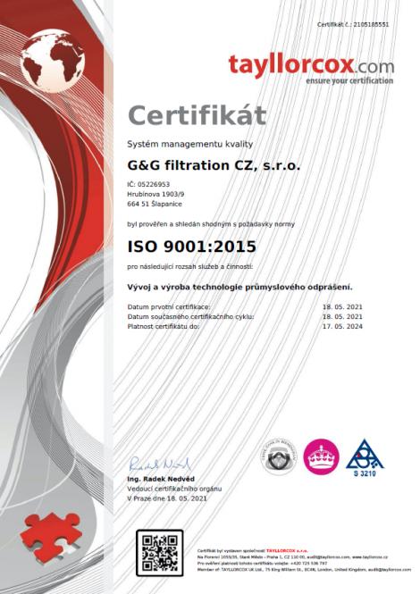 ISO 9001: 2015 Dezvoltarea și producerea tehnologiei industriale de desprăfuire.